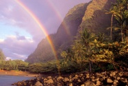 Double Rainbow, Kee Beach, Kauai, Hawaii   1600x