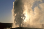 Old Faithful Geyser at Sunset, Yellowstone, Wyom